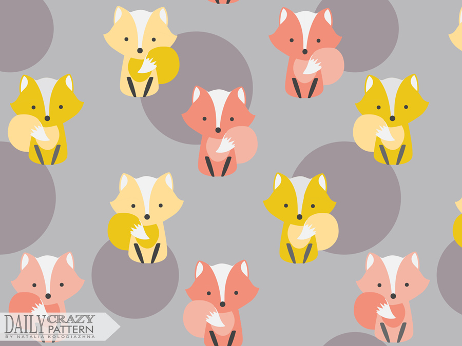 "Fancy print with little foxes for ""Daily Crazy Pattern"" project"