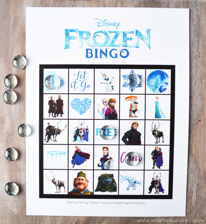 Frozen Crafts, Activities, Workbooks, Worksheets featured by top US Disney blogger, Marcie and the Mouse: Free Printable Frozen Bingo at artsyfartsymama.com