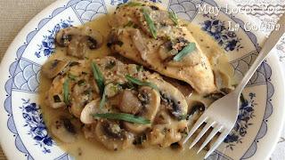 Pechuga de Pollo con Salsa de Champiñones, Mostaza y Estragón