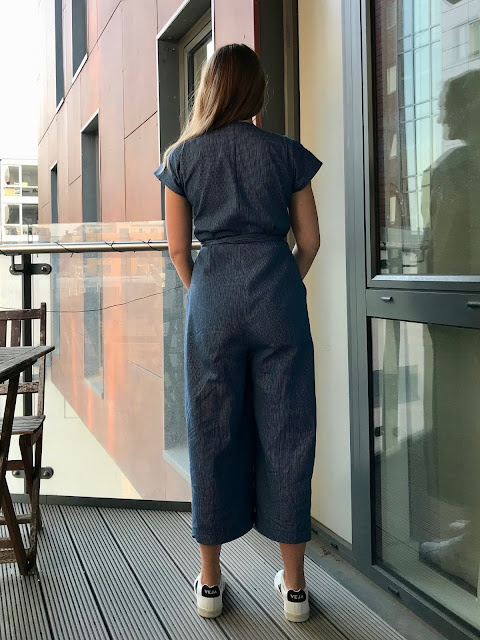 Diary of a Chain Stitcher: Paper Theory Zadie Jumpsuit in Hairline Stripe Indigo Cotton Twill from The Fabric Store