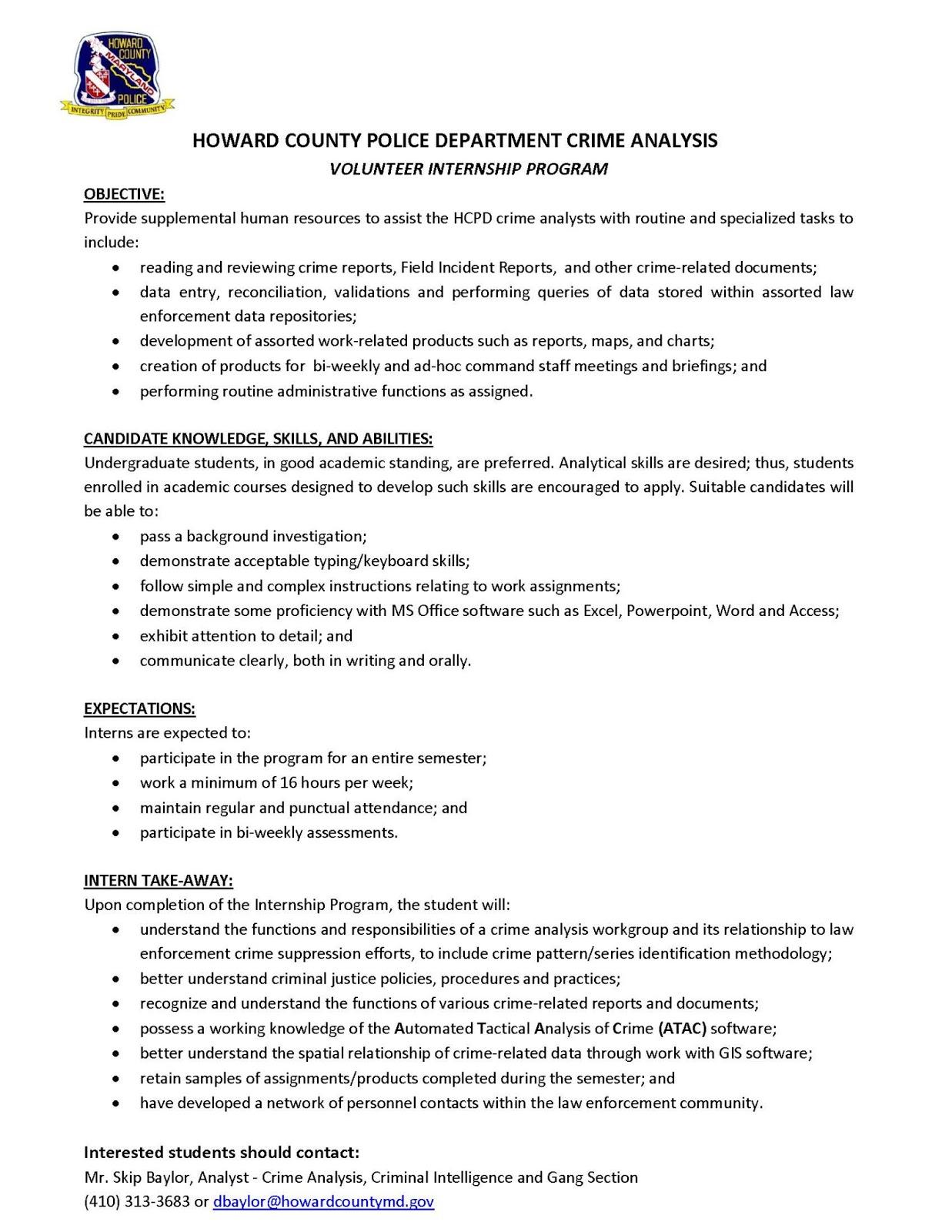 CCJS Undergrad Blog Internship Opportunity Howard County