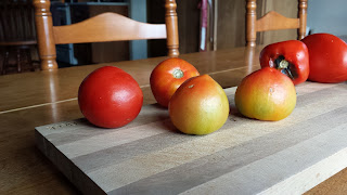 tomatoes on a cutting board