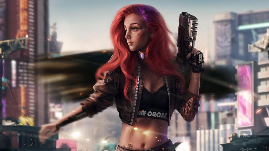 Cyberpunk, Guns, Sci-Fi, Girl, 4K, #4.623
