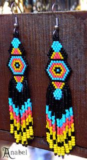 Купить этнические серьги из бисера. Купить украшения из бисера авторской работы.