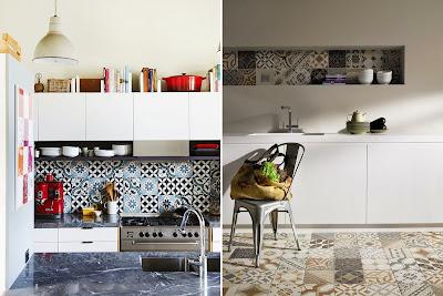 Znalezione obrazy dla zapytania biała kuchnia połysk płytki patchwork