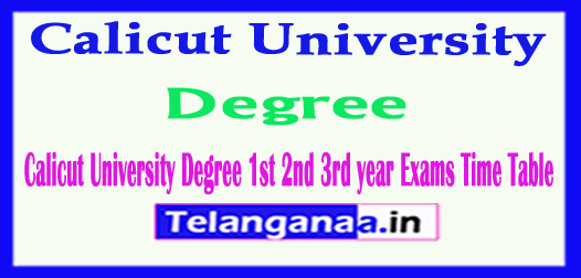 Calicut University Degree 1st 2nd 3rd year Exams Time Table 2018