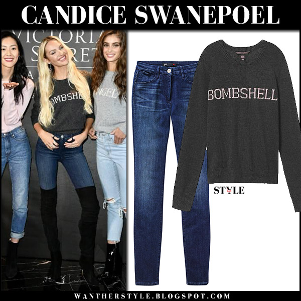 Candice Swanepoel in grey bombshell sweater and skinny jeans in Shanghai victorias secret 2017