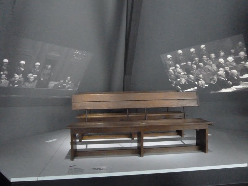 Original defendants bench for the accused at Nuremberg Trials