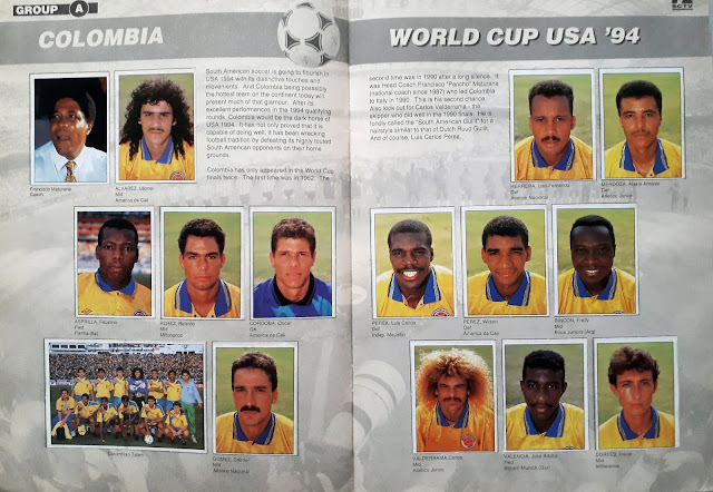 WORLD CUP USA '94 STICKER ALBUM COLLECTION GROUP A COLOMBIA