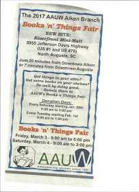 AAUW, book fair, fundraiser, book sale, Riverfront Antique Mall