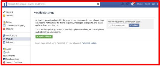 facebook mobile settings page