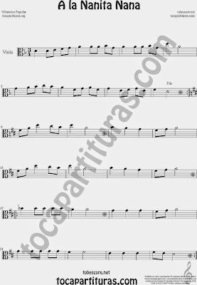 A la Nanita Nana  Partitura de Viola Sheet Music for Viola Music Score