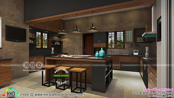 Kitchen interior design in grunge wall look