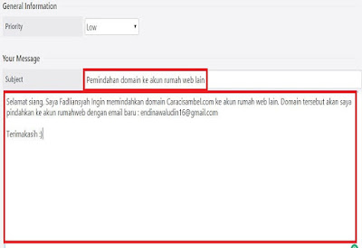 Pesan untuk transfer domain untuk pihak rumahweb