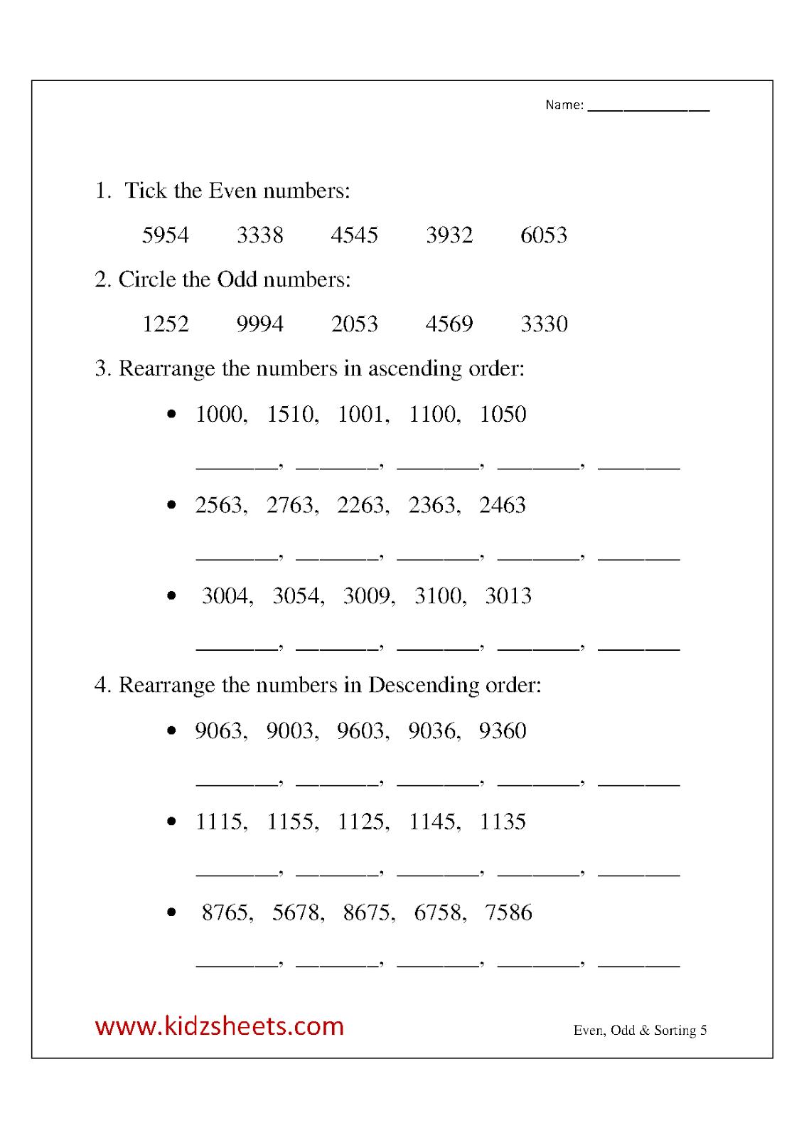 Math Worksheets For Grade 3 Ascending And Descending Order
