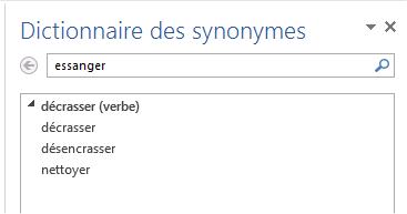 capture d'écran Word - synonymes du verbe essanger