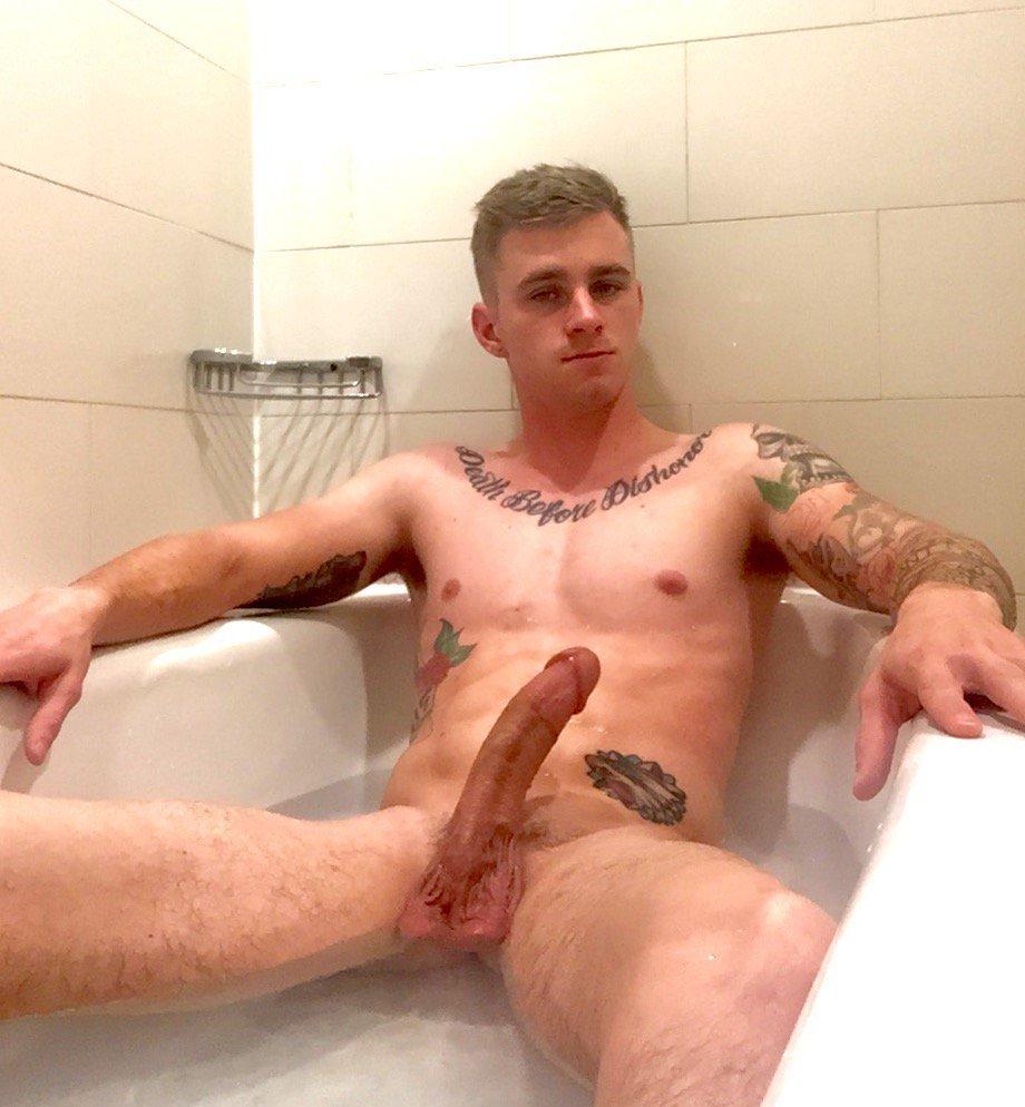 Nude black man in bathtub very
