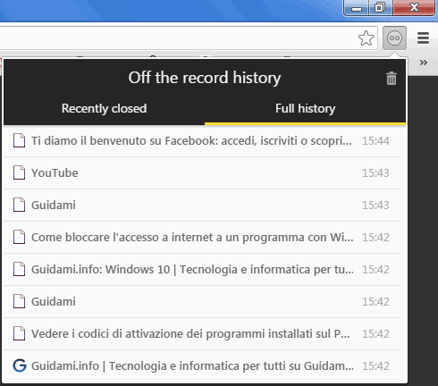 Off The Record History cronologia in incognito di Chrome