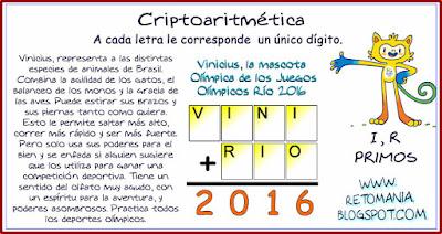 Criptoaritmética, Alfamética, Criptosuma, Criptograma, Juegos Olímpicos, Juegos de letras,