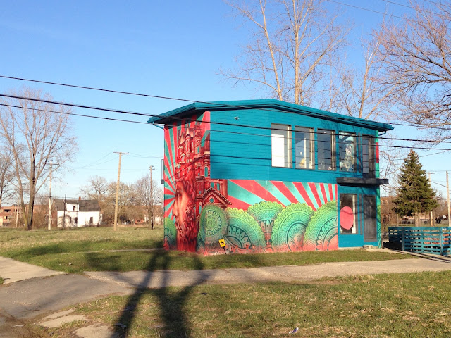 2126 Pierce cinder block mural covered house in Detroit