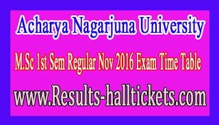 Acharya Nagarjuna University M.Sc 1st Sem Regular Nov 2016 Exam Time Table