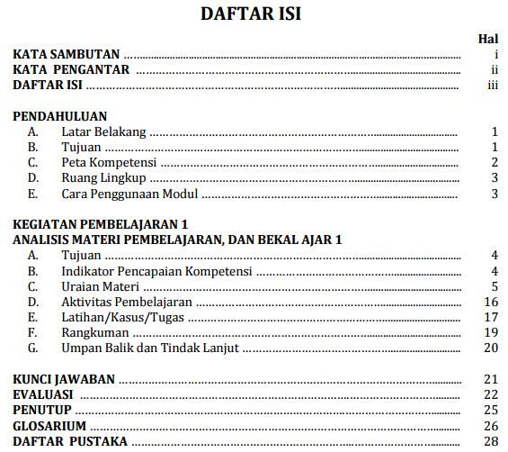gambar daftar isi modul guru pembelajar Penjaskes SD