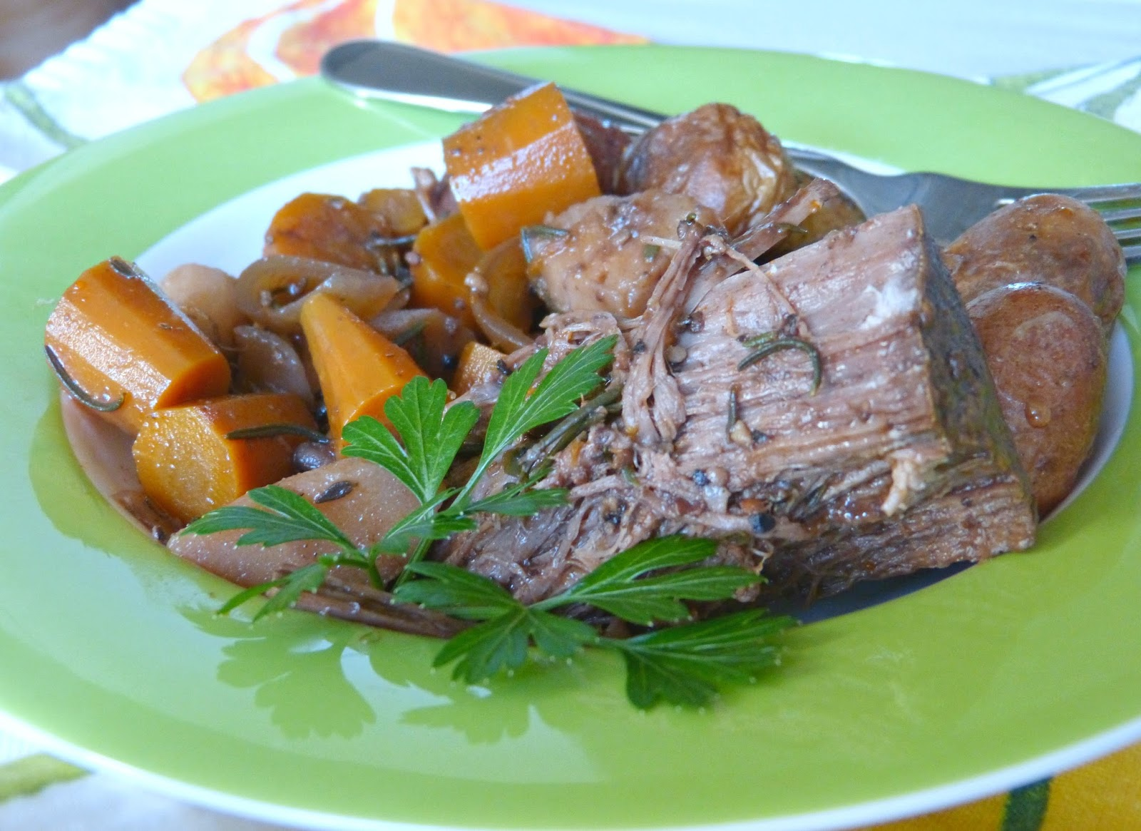 slow cooker pot roast is the perfect dinner for a cold winter's ...