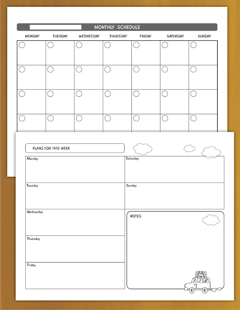 Free weekly monthly calendar planners