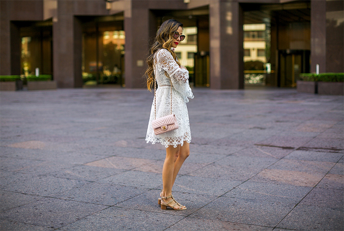 chicwish Floral Rhapsody Crochet Dress in White, little white dress, white lace dress, sole society Phoenix Sandal, studded sandal, chanel classic flap bag, quay sunglasses, baublebar earrings, date night outfit ideas, san francisco fashion blog, san francisco street style