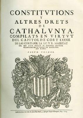 Constitvtions Y altres drets de Cathalvnya compilats en virtvt del capitol de cort LXXXII de las corts ...