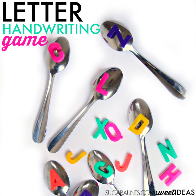 Use magnetic letters to work on letter recognition and letter formation in handwriting practice with preschool, kindergarten, and school age kids.