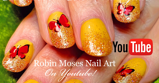 ESSIE 1000 Polish Holo Glitter Gold Gradient | DIY Butterflies Nail Art ...