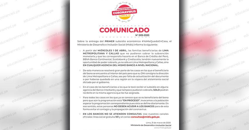 MIDIS: Comunicado Oficial sobre atención este Miércoles 1 de Abril para el cobro del Bono de S/ 380