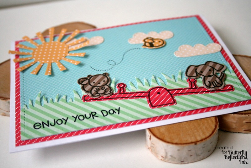 Playful Paper Pieced Card by Jess Moyer featuring Lawn Fawn Stamps Dies and Papers