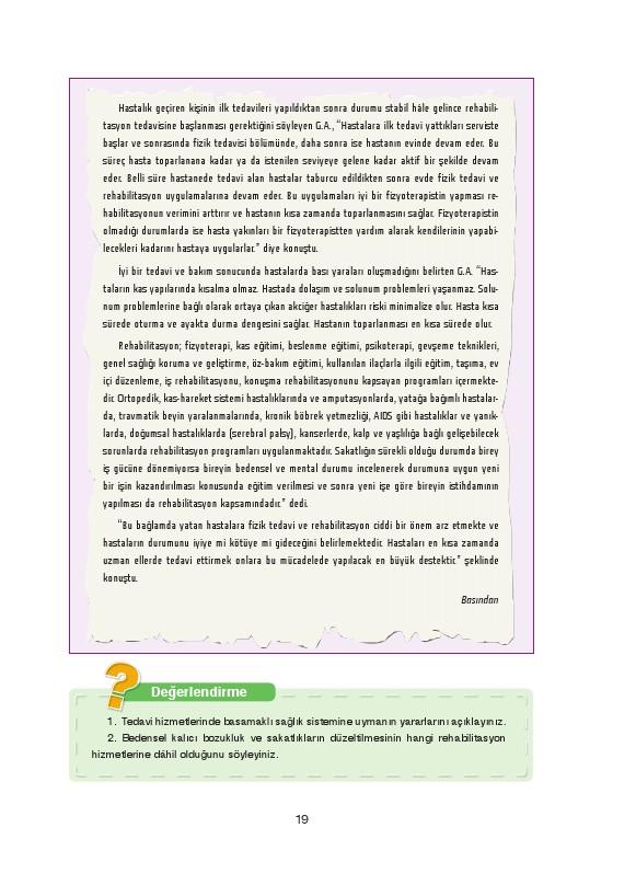 Sağlık Bilgisi ve Trafik Kültürü Ders Kitabı Cevapları Ada Yayınları Sayfa 19