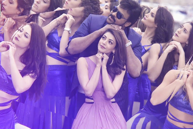 chiru, kajal agarwal pics in You and me song stills from khaidi no 150