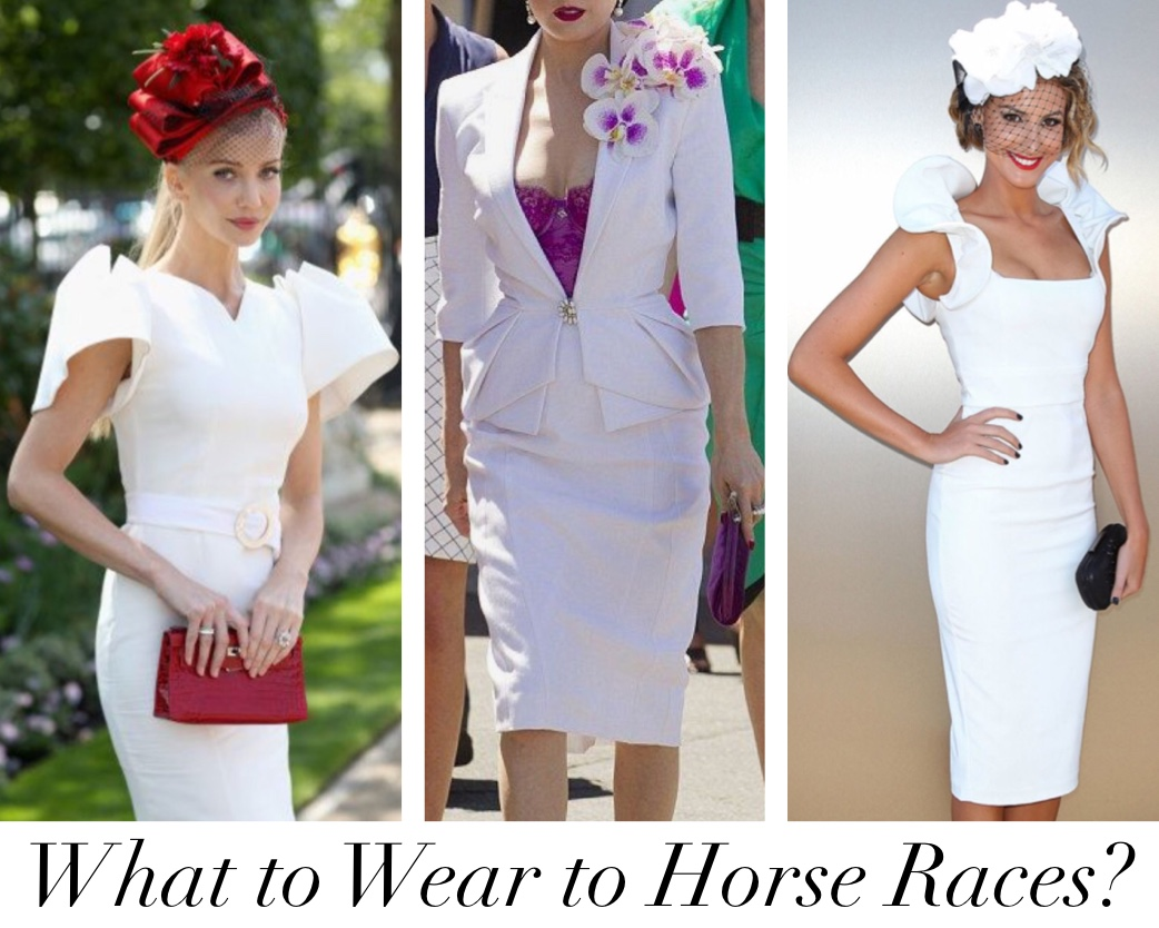 Photo of three women wearing white outfits and hats to horse races