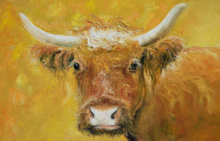 Red Angus Cow Painting