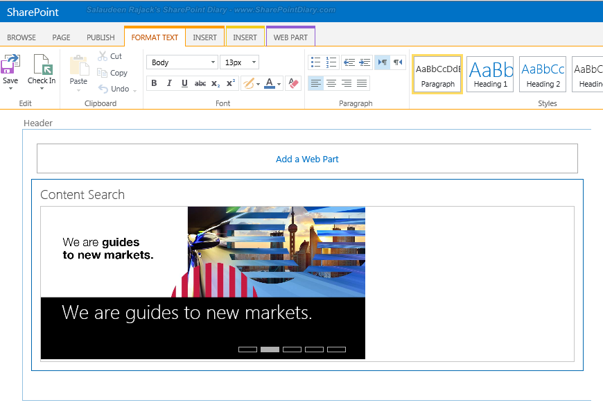 SharePoint 2013 Image Carousel (Rotating Banner) using Content