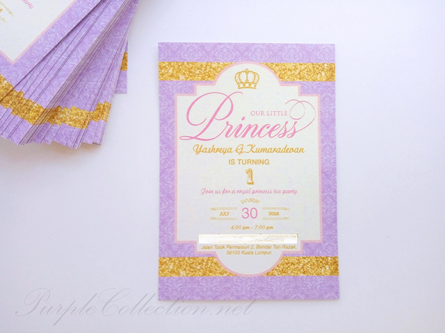 1 year old birthday invitation card princess elegant royal purple gold theme, malaysia printing, lustre, pearl, card, digital, offset, kuala lumpur, party, kids, children, first, celebration, glittered, damask