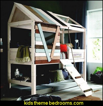 Cabin Bed-Boys  theme beds - novelty furniture - woodworking bed plans - unique furniture - novelty furniture - themed furniture - themed beds - castle themed bed - castle loft beds - boat bed - Pirate Ship Bed - BATMOBILE BED - train bed - princess carriage beds - Doll house Beds