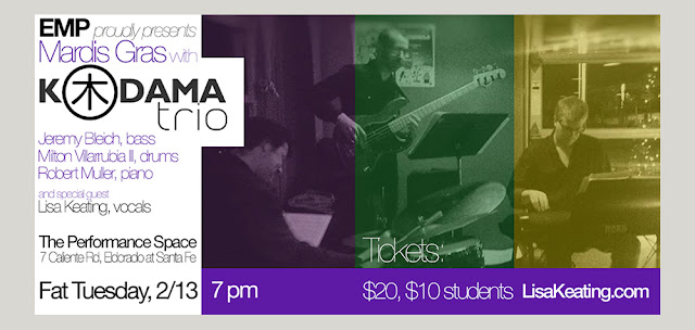 Mardi Gras party featuring Kodama Trio live with special guest Lisa Keating