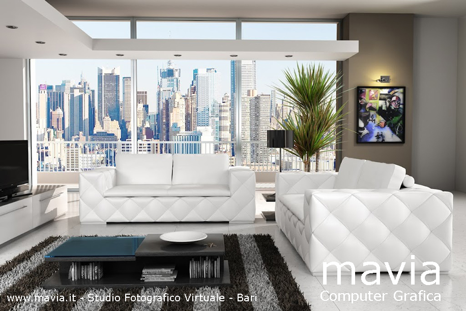 Arredamento di interni interni 3d salotto moderno con for Salotto moderno bianco