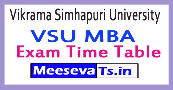 Vikrama Simhapuri University VSU MBA Exam Time Table 2017