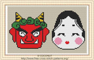 Setsubun, Free and easy printable cross stitch pattern