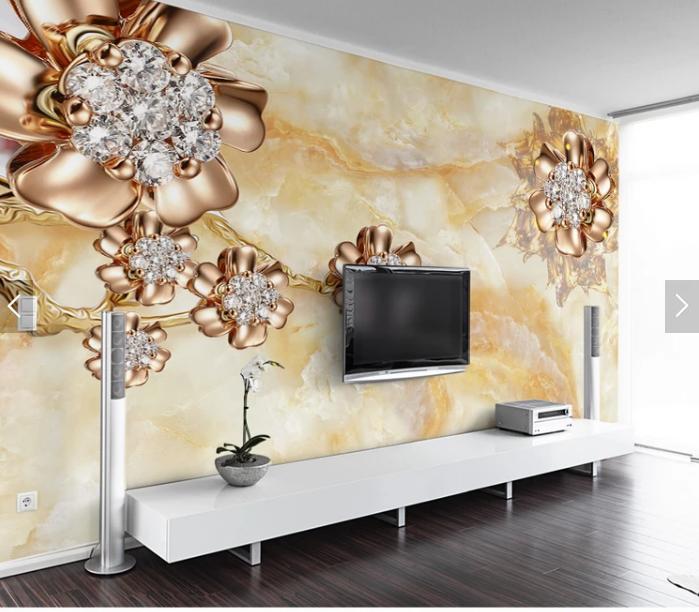 Tranh 3d dán tường hoa trang sức ngọc trai