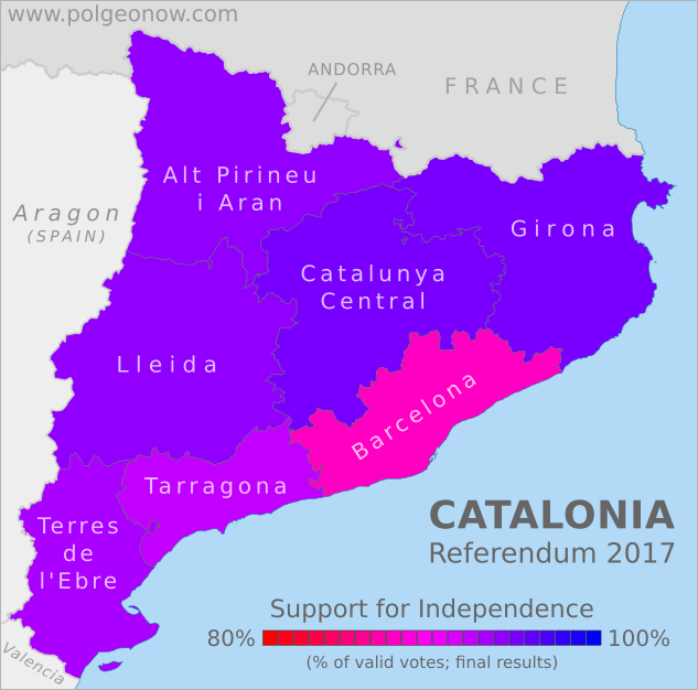 2017 Catalonia independence referendum results map. This map shows support for independence by region (vegueria) in the October 1 Catalan vote on independence from Spain. Colorblind accessible.