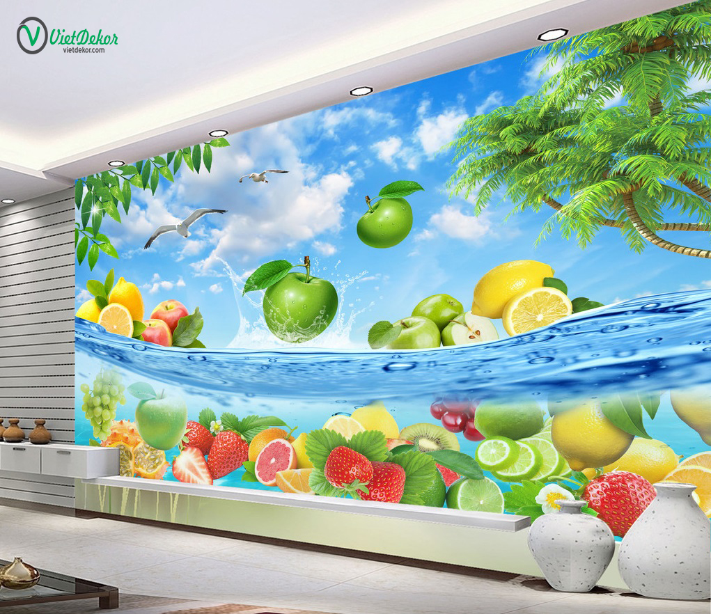 Tranh dán tường 3d trái cây trang trí phòng ăn
