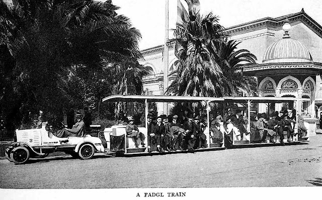 1915 pan pacific expo, Fageol Motors Fadgl train photograph