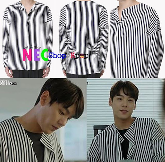 [EXO STYLE] Homme Long Stripe SHIRT (Navy)